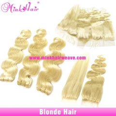 10A Mink Hair Weave #613 Color Body Wave Brazilian Hair Blonde Hair