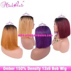 Ombre Bob Wig 1B/27 1B/30 1B/99J  1B/Purple 150% Density 13x6 100% Human Hair Lace Frontal Wig