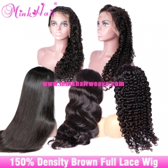 Cheap Full Lace Wig With Baby Hair 150% Density Human Hair Mink Brazilian Hair Wig 10A Grade Brown Lace
