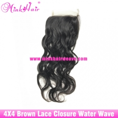 Brown Lace 100% Raw Hair Water Wave Brazilian Hair Lace Closure