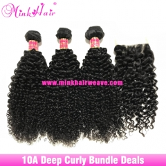 Mink Deep Curly Brazilian Bundle Deals Mink Hair Weave Vendor