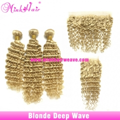 Mink Hair Vendor Mink Brazilian Hair #613 Blonde Deep Wave