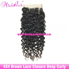 Brown Lace Mink Hair Weave Deep Curly Mink Hair Collection 4*4 Lace Closure