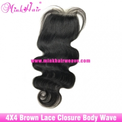 Brown Lace Lace Closure Body Wave 4*4 Brazilian Mink Hair Wavy 100% Virgin Human Hair