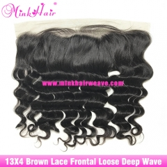 Brown Lace Virgin Brazilian Hair Loose Deep Wave 13*4 Lace Frontal