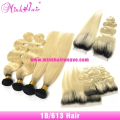 Ombre Blonde 1B/613 Brazilian Hair Bundles with Two Tone Hair Lace Closures Frontals 10A Grade Human Virgin Remy Hair