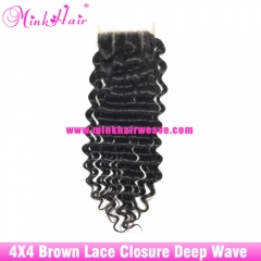Brown Lace 2020 hot sell closure 4*4 wholesale human hair Mink Brazilian Hair Extensions Lace Closure Brazilian Deep Wave