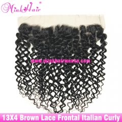 Brown Lace 2020 Wholesale Diamond Mink Hair Italian Curly Lace Frontal