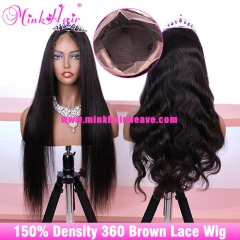 Quality 360 Lace Frontal Wig 150% Density Brown Lace 10A Grade