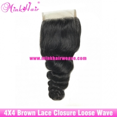 Brown Lace mink hair company 100% human virgin hair Brazilian 4*4 Lace Closure Mink Hair Loose Wave