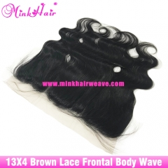 13*4 Body Wave Lace Frontal Brown Lace 100% Unprocessed Mink Brazilian Hair