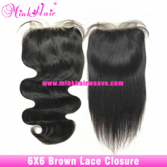 Brown Lace Mink Brazilian 6x6 Lace Closure