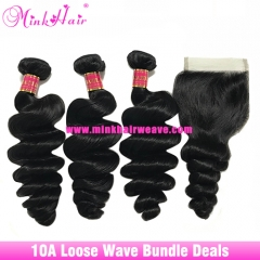 10A Grade Luxury Mink Hair 100% Brazilian Hair Weave Loose Wave