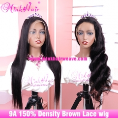 9A Brown 13x6 Lace Front Wig and Full Lace Human Hair Wigs 150% Density