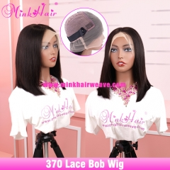 10A New Transparent 370 Lace Bob Wig 180% Density