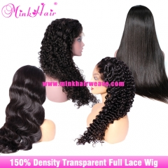 Transparent Full Lace Wig 10A Grade 150% Density Human Hair Wigs Best Online Wig Store Near Me