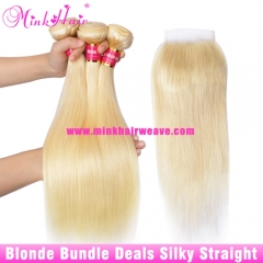 10A Grade 613 Blonde Silky Straight 3 Hair Bundles With Lace Closure Frontal Brazilian Hair Bundle Deals
