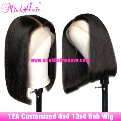 12A Closure Wig Brown Lace 4X4 13x4 180% Density Customized Bob Wig 1B