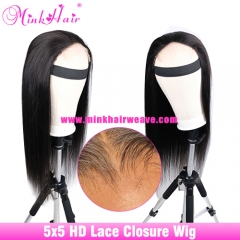 NEW  4X4 5X5 HD Lace Wig 200% Density Customized HD Closure Wig