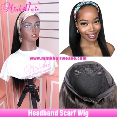 Headband Wig No Lace No Glue Human Hair Wigs With Scarf 180% Density Customized Wig