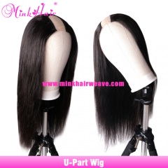 U-Part Wig 180% 200% 250% Density100% Mink Brazilian Hair Custom Wig