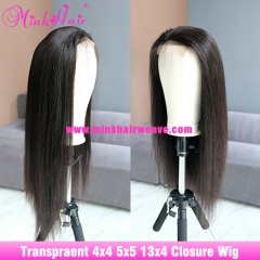 New Transparent Lace Closure Wig 4x4 5x5 13x4 Lace Front Wig 180% Density Silky Straight Hair