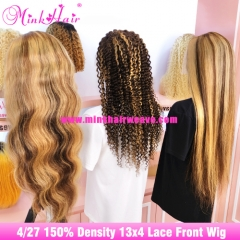 Ombre #4/27 13x4 Lace Front Wig and 4x4 Closure Wig 150% Density Human Hair Lace Wigs