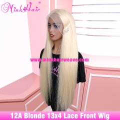 12A Grade 180% Density Lace Front Wig Blonde Silky Straight Wig