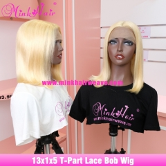New 13x1x5 T-Part Lace Bob Wig Blonde 613 Middle Part Wig
