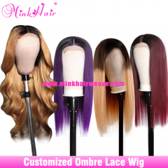 Customized Ombre Lace Closure Wig and Lace Frontal Wig 180% Density