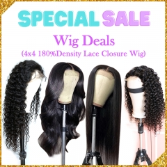 Black Friday Hair Sale 4 Wigs Deals Lace Closure Wig 4X4 180%Density