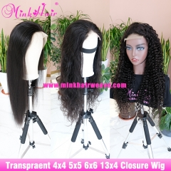 Customized Wig Transparent Lace 4x4 5x5 6x6 Closure Wig and 13x4 Transparent Lace Front Wig 180% Density
