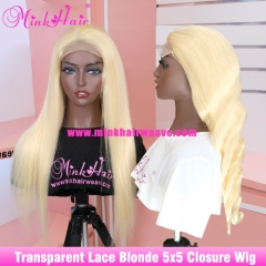 #613 Blonde 5x5 Lace Closure Wig 180% Density Body Wave and Silky Straight 10A Grade Brazilian Wig