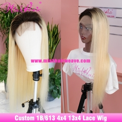 Ombre 1B/613 Closure Wig and Lace Front Wig 180% Density Custom Ombre Blonde Wig