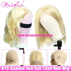 #613 Blonde 4x4 5x5 Closure Bob Wig and 13x4 Lace Front Bob Wig 180% Density Custom Wig
