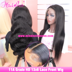 11A Grade Quality 13x6 HD Lace Front Wig 180% Density Mink Brazilian Human Hair For Sale