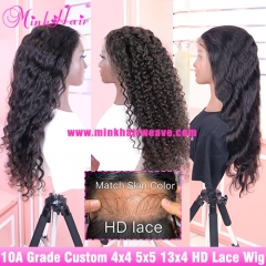 10A 4X4 5X5 HD Lace Closure Wig 13X4 HD Lace Frontal Wig 180% Density Customized Wig