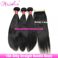 Wholesale Mink Brazilian Silky Straight Hair Bundle Deals With Lace Closure or Frontal Virgin Human Hair Extensions