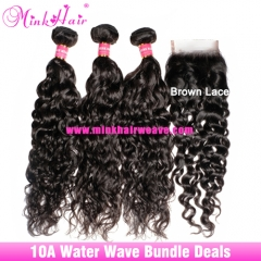 Mink Brazilian Water Wave Hair Bundle Deals 10A Grade Wet And Wavy Hair Weft with Lace Frontal Closure​​​​​​​