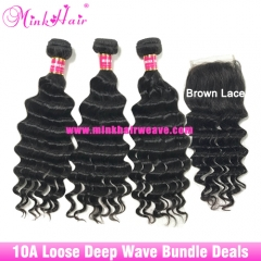 Wholesale Loose Deep Wave Bundle Deals Mink Brazilian Hair Virgin Human Hair Weave and Closure Frontal for Women