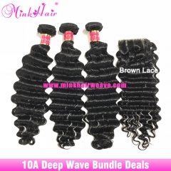 Mink Hair Factory Brazilian Deep Wave Hair Bundle Deals with Closure Frontal 100% Virgin Human Hair