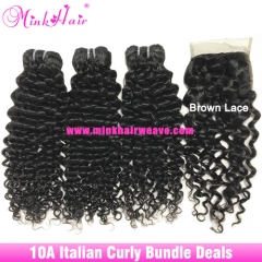 Italian Curly Hair Bundle Deals 10A Grade Natural Color 100% Virgin Human Hair Extensions for Women