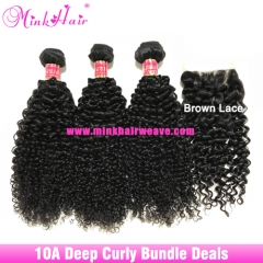 Quality Deep Curly Hair Bundle Deals 10A Grade Brazilian Human Hair Mink Hair Weave with Frontal Closure