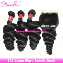 Best Loose Wave Hair Bundle Deals 10A Grade 100% Mink Brazilian Hair Weave with Lace Frontal Closure