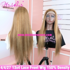 #4/4/27 Ombre Color 13x4 Lace Front Wig 150% Density Silky Straight Human Hair Lace Wigs
