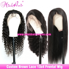 13x4 Lace Frontal Wigs Brown Lace 180% 200% Density Human Hair Custom Wig
