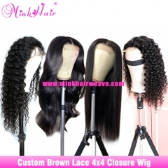 10A 4x4 Closure Wig Brown Lace 180% 200% Density Custom Lace Closure Wig