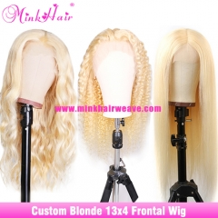 613 Blonde 13x4 Lace Frontal Human Hair Wigs Baby Hairs Along The Hairline 180% 200% 250% Density Custom Wig