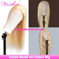 10A 613 Closure Wig 4x4 180% 200% 250% Density Transparent Lace Custom Blonde Wig
