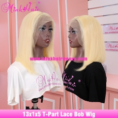 New 13x1x5 T-Part Lace Bob Wig Blonde 613 Middle Part Wig 100% Human Remy Hair Wig